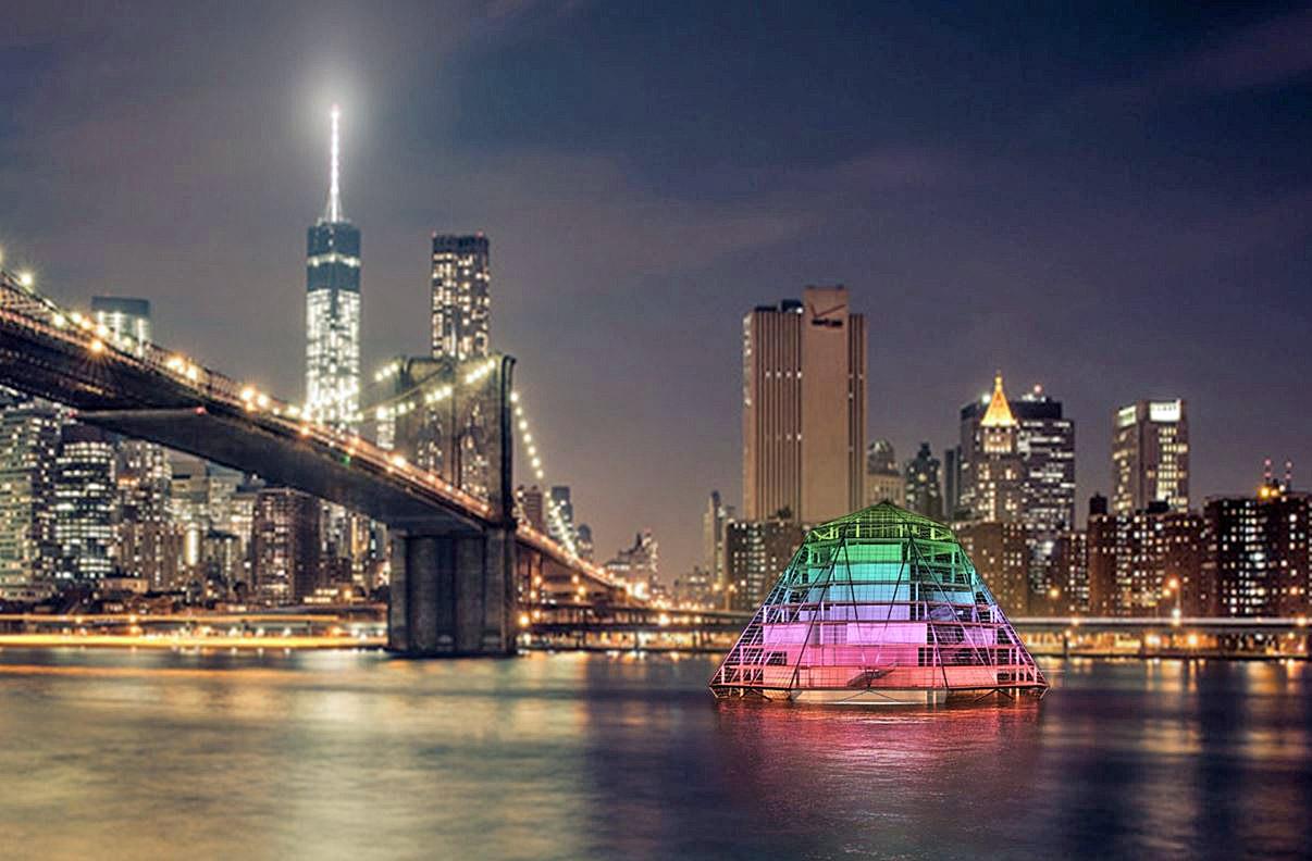 """Projekt Centrum Kultury  """"Diamond of Art"""" na rzece East River  w Nowym Jorku autorstwa Patrycji Gancarczyk"""